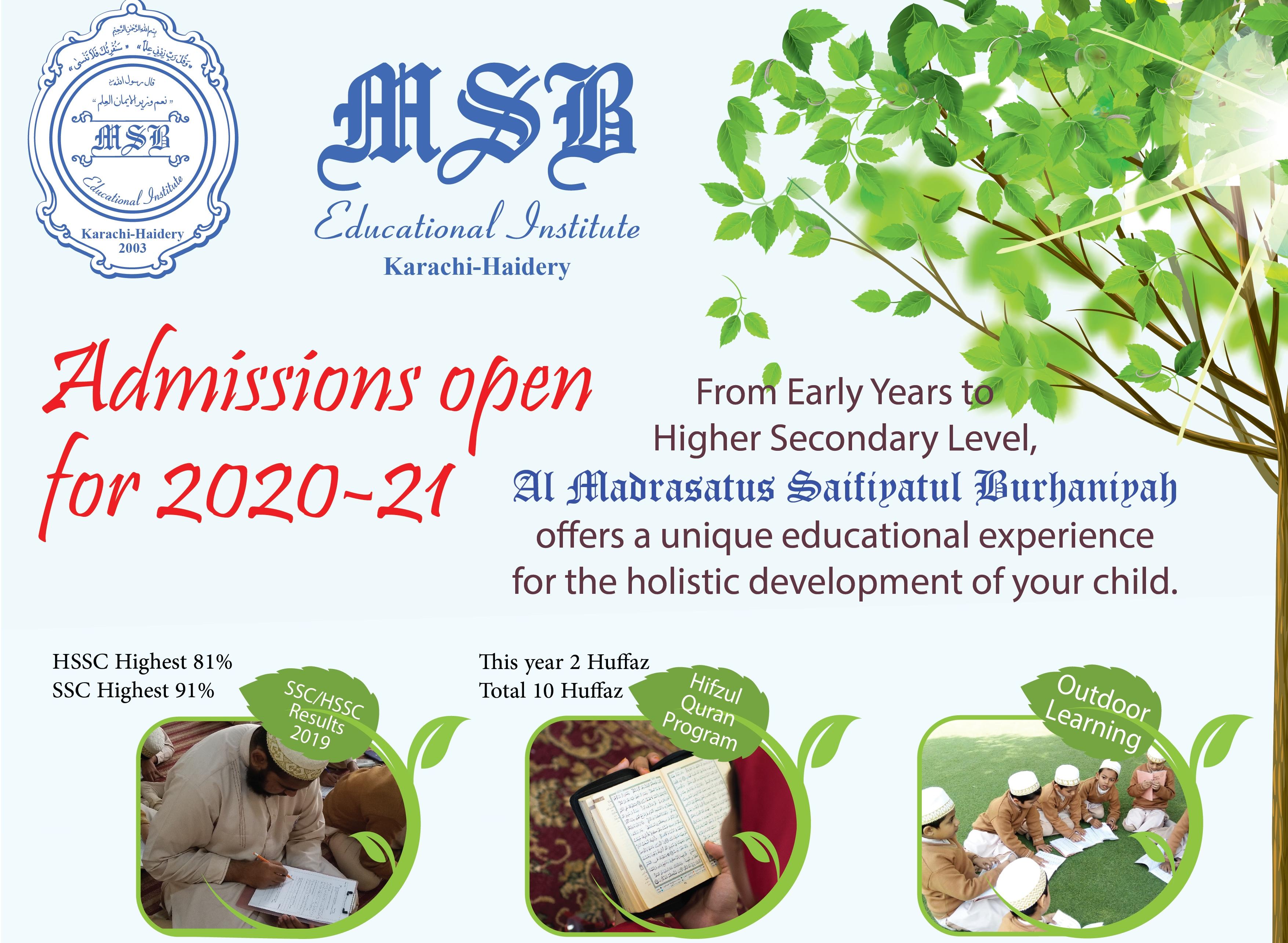 MSB Admissions 2020-21